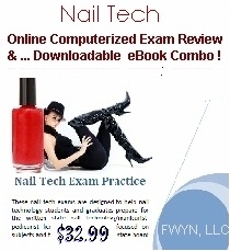 Printable Nail Technician eBook combined with interactice Online Exam Manicurist Practice for state board